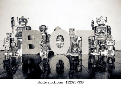the word BOT with vitage robot toys monochrome  toned