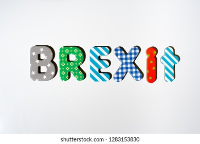Word brexit written with magnets.