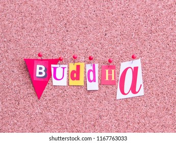 """word """"buddha"""", with copy-space"""