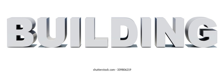Word building on isolated white background, front view