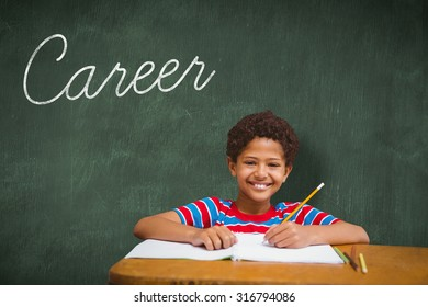The word career and smiling pupil against green chalkboard