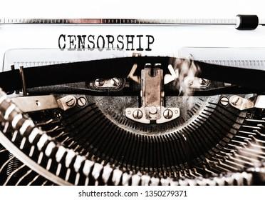 word CENSORSHIP written on old manual typewriter