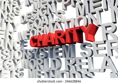 Word Charity in red, salient among other related keywords concept in white. 3d render illustration.