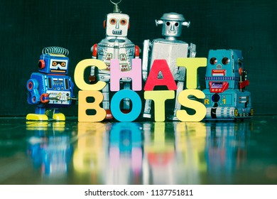 the word  CHAT BOTS with rtro robots on a wooden floor with reflection
