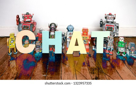 the word Chat with vintage robot toys solarized color