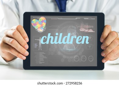 The word children and autism awareness heart against medical biology interface in black