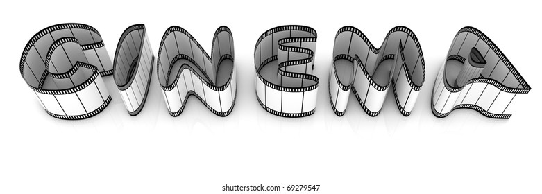 """Word """"cinema"""" from film strips over white background"""