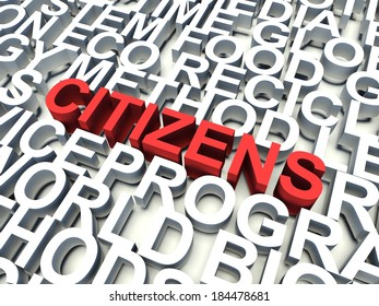 Word Citizens in red, salient among other related keywords concept in white. 3d render illustration.