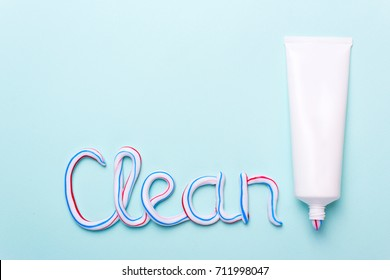 The word is clean from the toothpaste. Copy space for text