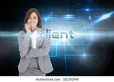 The word client and smiling thoughtful businesswoman against black background with shiny squares