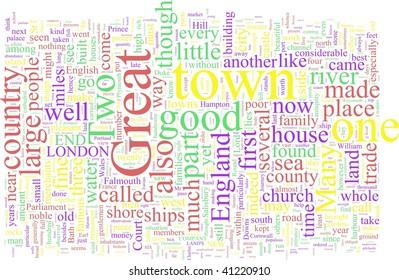 A word cloud based on Defoe's travel tales