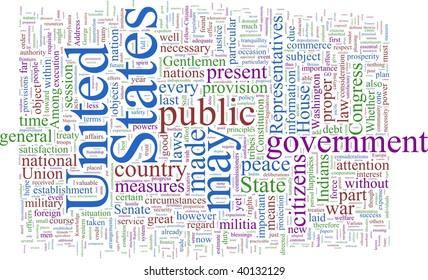 A word cloud based on George Washington's writings