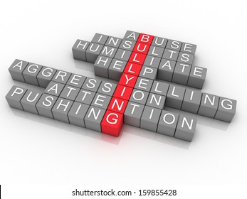 Word cloud Bullying concept, 3d imagen