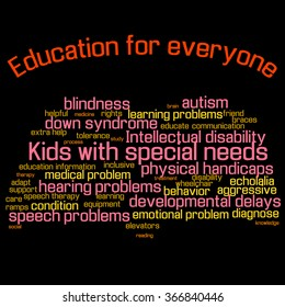 Word cloud (collage). Children with special needs education. Book shape, colorful words, black background. Illustration for web or typography (magazine, brochure, flyer, poster), EPS 10.