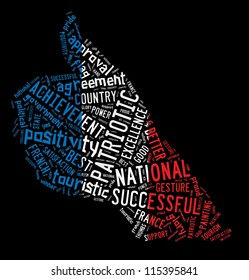 Word cloud composed in thumb up shape in France national flag