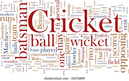 Word cloud concept illustration of Cricket sport