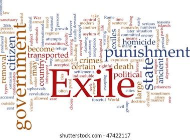 Word cloud concept illustration of exile punishment