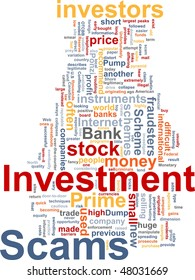 Word cloud concept illustration of  Investment scams