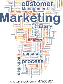 Word cloud concept illustration of marketing process