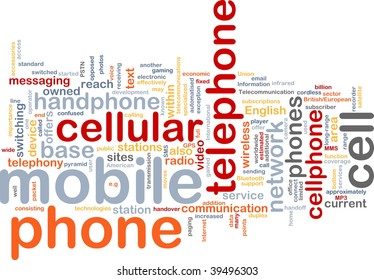Word cloud concept illustration of mobile phone