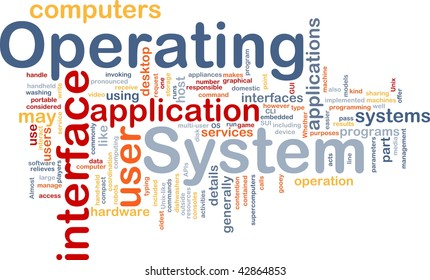 Word cloud concept illustration of operating system