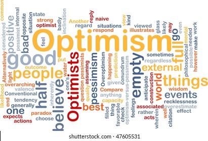 Word cloud concept illustration of optimism optimist