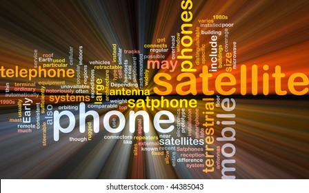 Word cloud concept illustration of satellite phone glowing light effect