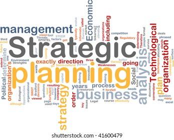 Word cloud concept illustration of strategic planning