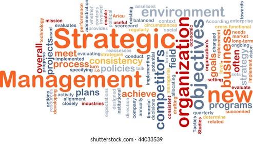 Word cloud concept illustration of strategic management