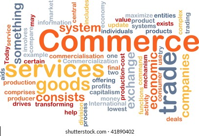 Word cloud concept illustration of trade commerce