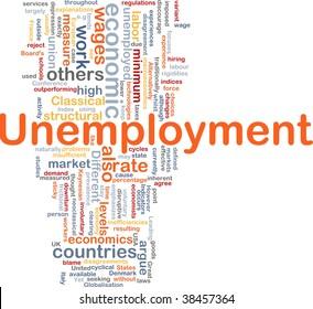Word cloud concept illustration of unemployment work