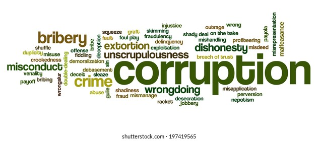 Word cloud containing words related to corruption, crime, bribery, shadiness, sin, unscrupulousness, wrongdoing and illegal activities