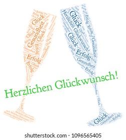 """Word cloud: German text: """"Herzlichen Glückwunsch"""" meaning """"Happy Birthday"""""""
