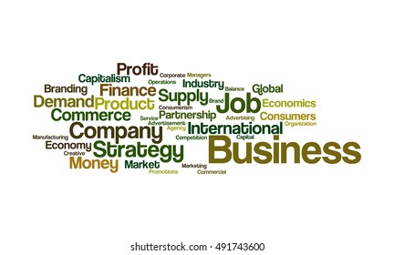 Word cloud illustrating the prime concept of Business and the relevant words associated with it
