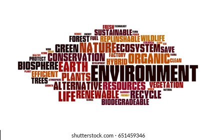 Word cloud illustrating the prime concept of Environment and the words associated with it