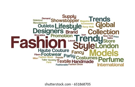 Word cloud illustrating the prime concept of Fashion and the words associated with it