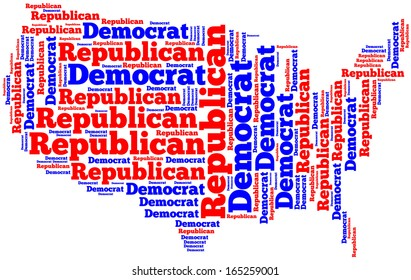 Word cloud map of the United States of America showing the two dominant political parties.