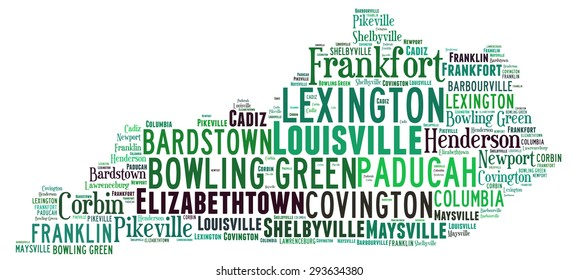 Word Cloud in the shape of Kentucky showing some of the cities in the state