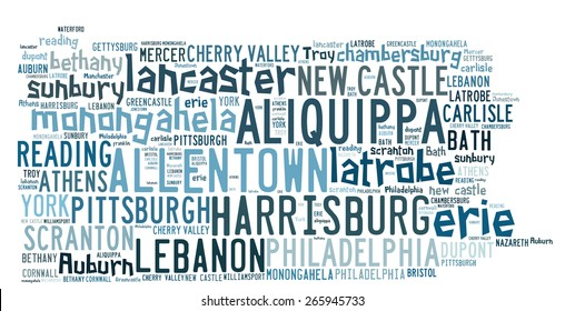 Word Cloud in the shape of Pennsylvania listed cities in the state