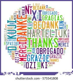 """Word Cloud """"Thanks"""" in different Languages"""