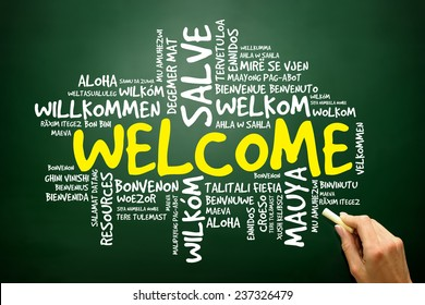 Word cloud of WELCOME in different languages, business concept on blackboard