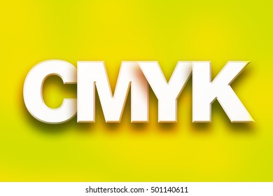 """The word """"CMYK"""" written in white 3D letters on a colorful background concept and theme."""
