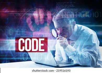 The word code and mature businessman examining with magnifying glass against pink technology hand print interface design