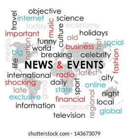 Word collage  with News headline and keyword text on news theme and world map wallpaper