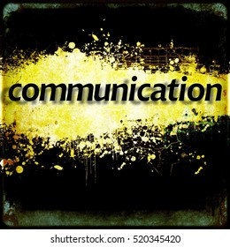 Word communication on black and yellow grunge background. Communication concept.