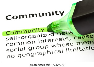 The word Community highlighted in green with felt tip pen.