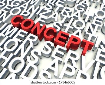 Word Concept in red, salient among other related keywords concept in white. 3d render illustration.
