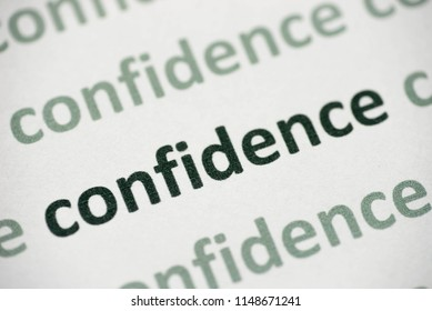 word confidence printed on white paper macro