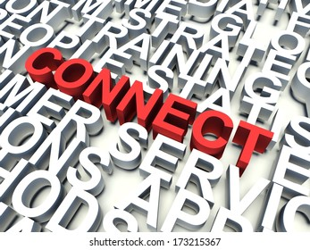 Word Connect in red, salient among other related keywords concept in white. 3d render illustration.