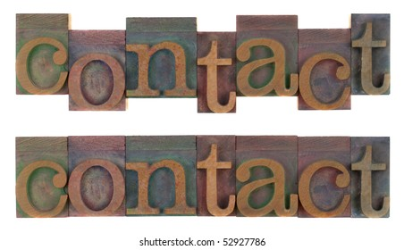 the word contact (two layouts) in old wooden letterpress type blocks, stained by colorful ink, isolated on white